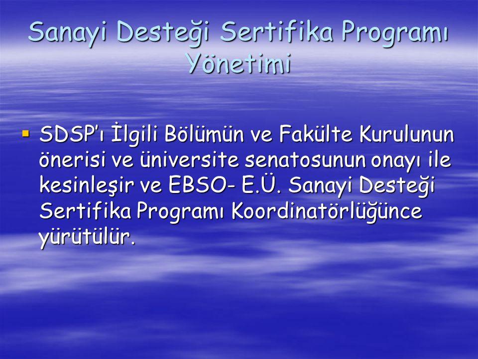 Sanayi Desteği Sertifika Programı Yönetimi