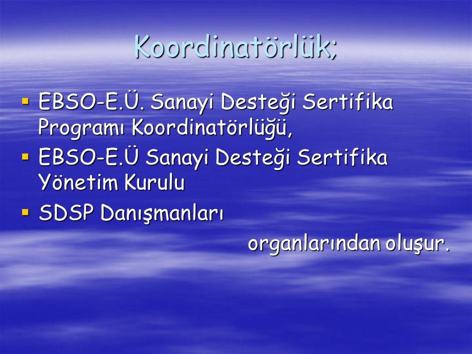 Koordinatörlük; EBSO-E.Ü. Sanayi Desteği Sertifika Programı Koordinatörlüğü, EBSO-E.Ü Sanayi Desteği Sertifika Yönetim Kurulu.