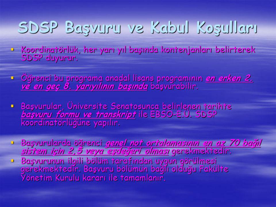 SDSP Başvuru ve Kabul Koşulları