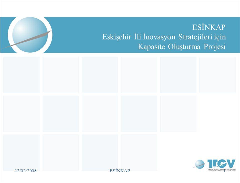 TTGV 22/02/2008. ESİNKAP Eskişehir İli İnovasyon Stratejileri için Kapasite Oluşturma Projesi. 22/02/2008.