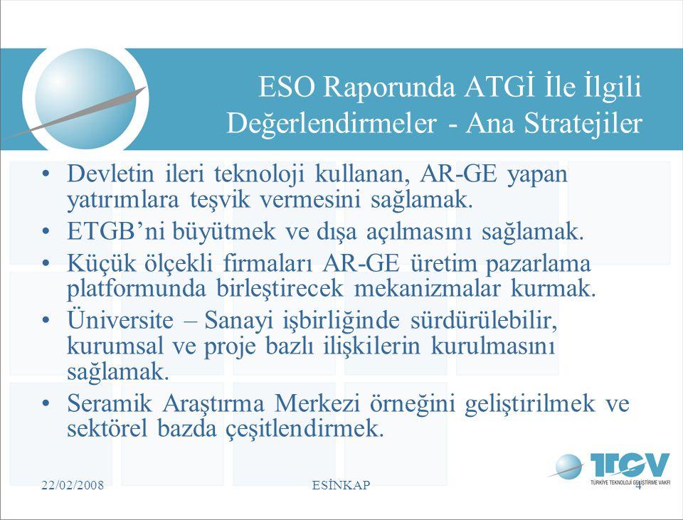 ESO Raporunda ATGİ İle İlgili Değerlendirmeler - Ana Stratejiler