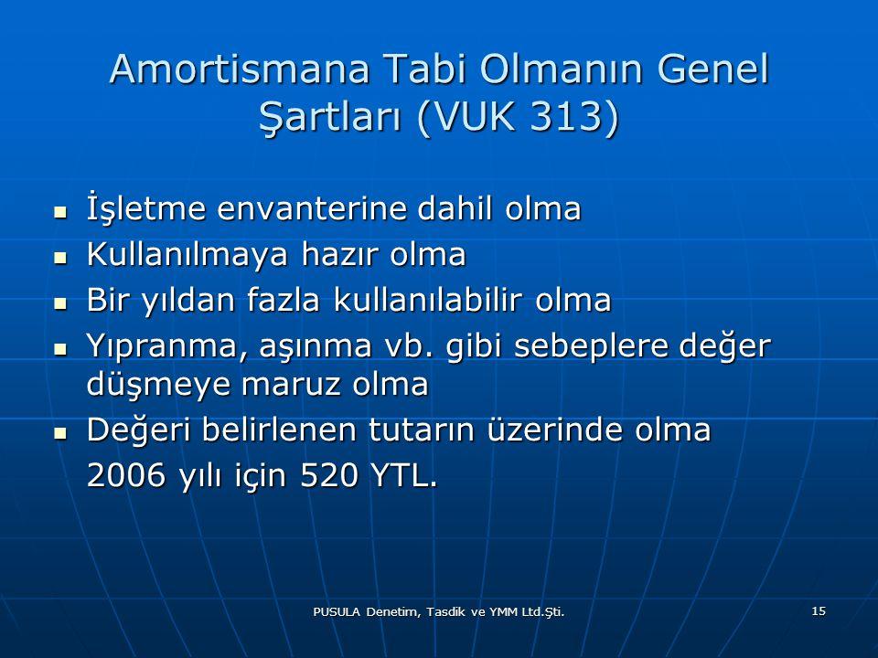 Amortismana Tabi Olmanın Genel Şartları (VUK 313)