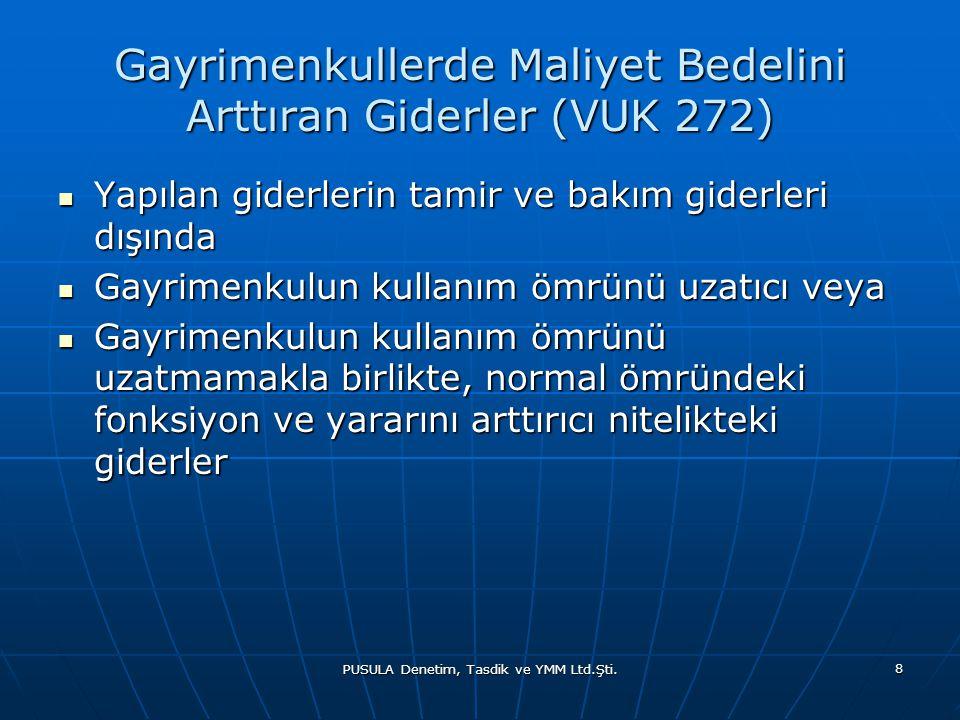 Gayrimenkullerde Maliyet Bedelini Arttıran Giderler (VUK 272)
