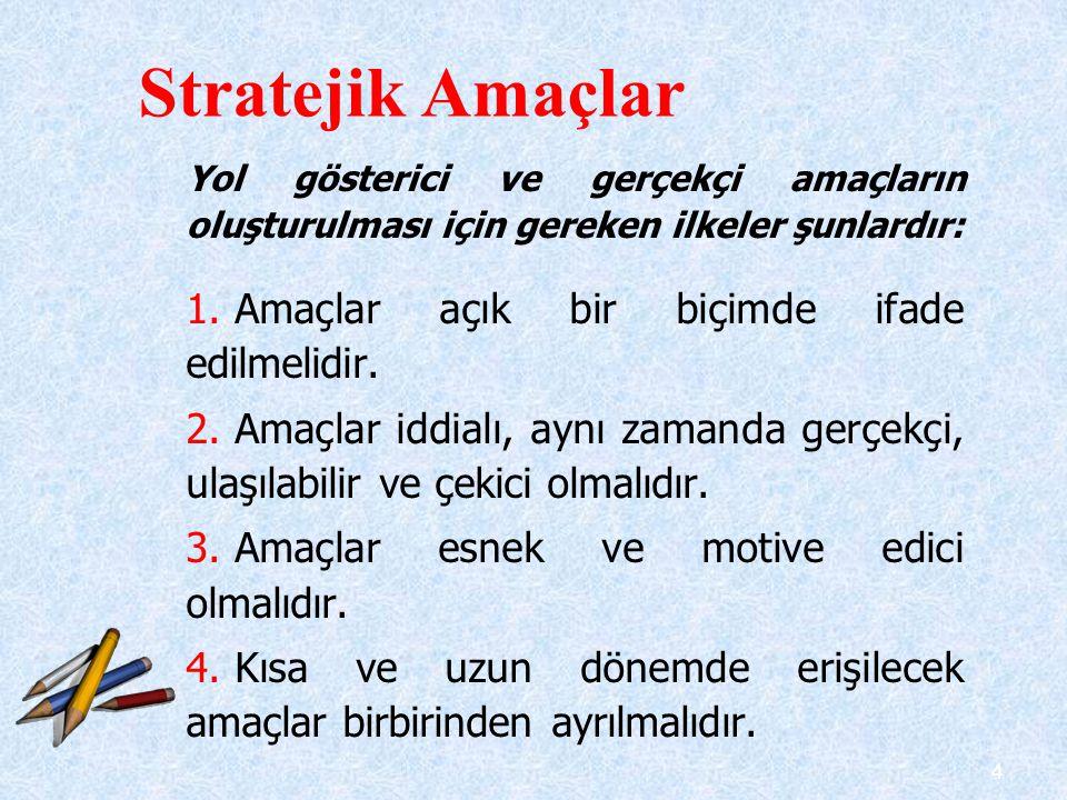 Stratejik Amaçlar Amaçlar açık bir biçimde ifade edilmelidir.