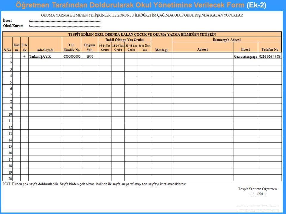 Öğretmen Tarafından Doldurularak Okul Yönetimine Verilecek Form (Ek-2)