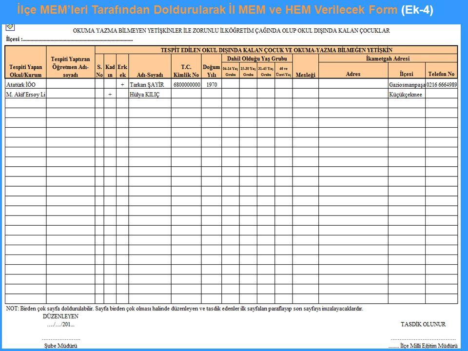 İlçe MEM'leri Tarafından Doldurularak İl MEM ve HEM Verilecek Form (Ek-4)