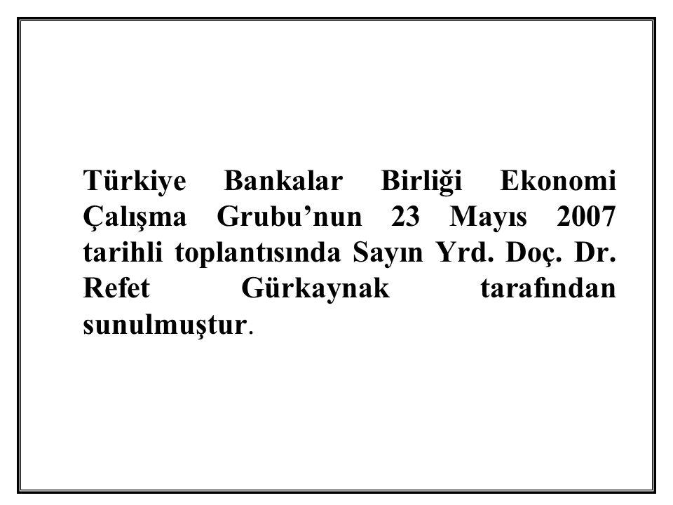 Türkiye Bankalar Birliği Ekonomi Çalışma Grubu'nun 23 Mayıs 2007 tarihli toplantısında Sayın Yrd.