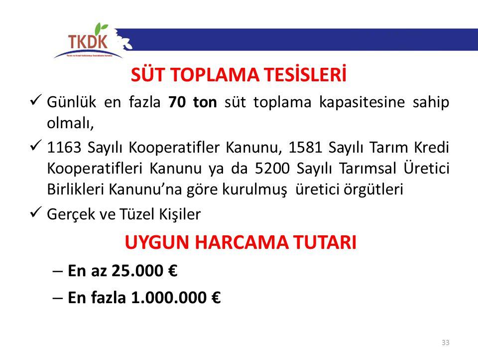 SÜT TOPLAMA TESİSLERİ UYGUN HARCAMA TUTARI En az 25.000 €