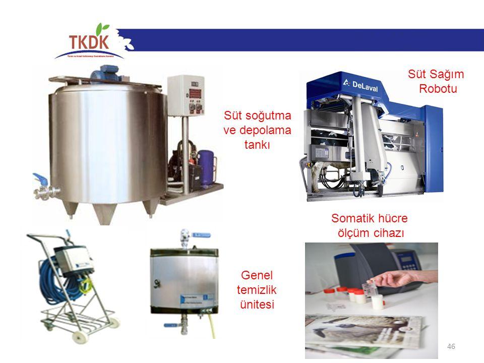 Süt Sağım Robotu Süt soğutma ve depolama tankı Somatik hücre ölçüm cihazı Genel temizlik ünitesi