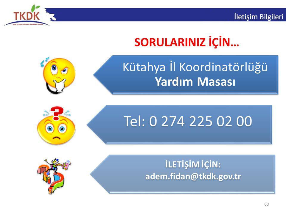 Tel: 0 274 225 02 00 Kütahya İl Koordinatörlüğü Yardım Masası