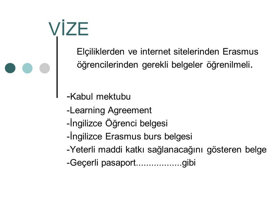 VİZE Elçiliklerden ve internet sitelerinden Erasmus öğrencilerinden gerekli belgeler öğrenilmeli. -Kabul mektubu.