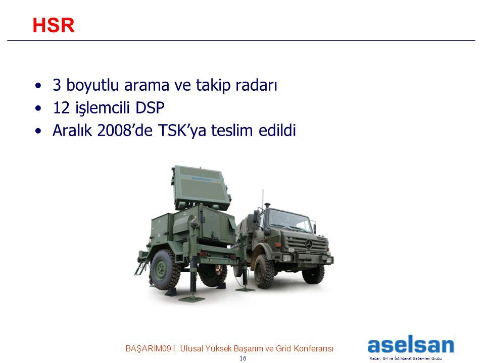 HSR 3 boyutlu arama ve takip radarı 12 işlemcili DSP