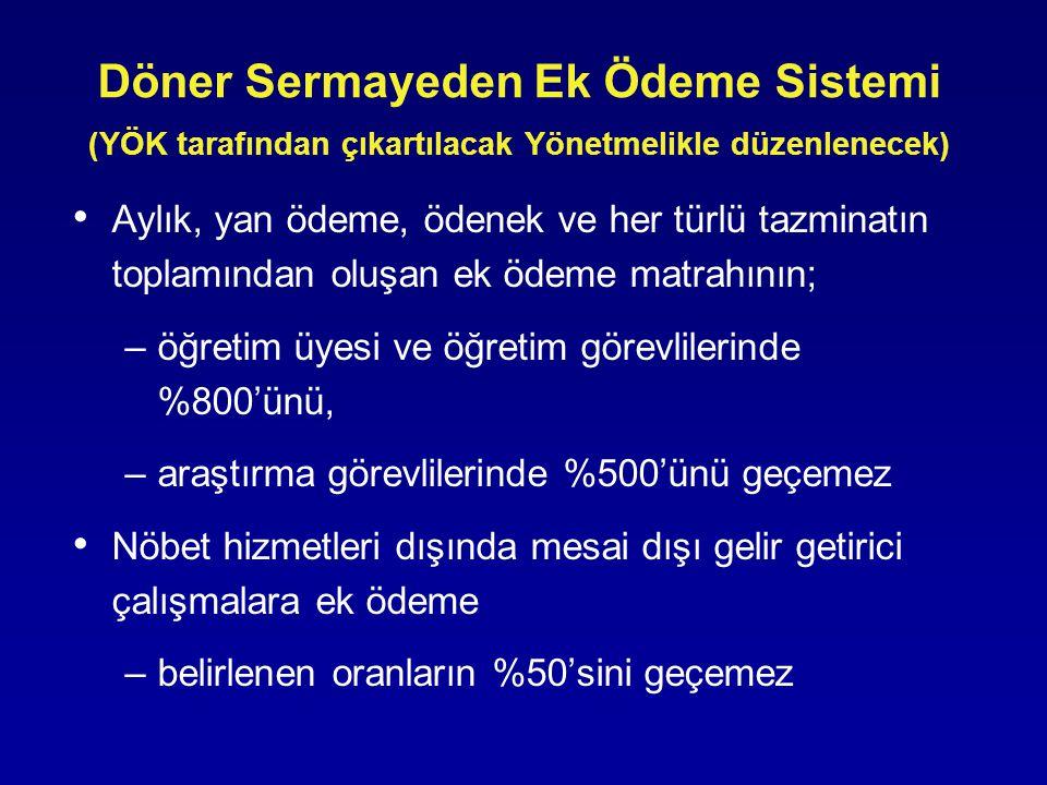Döner Sermayeden Ek Ödeme Sistemi (YÖK tarafından çıkartılacak Yönetmelikle düzenlenecek)
