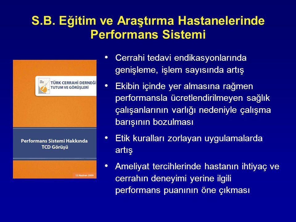 S.B. Eğitim ve Araştırma Hastanelerinde Performans Sistemi