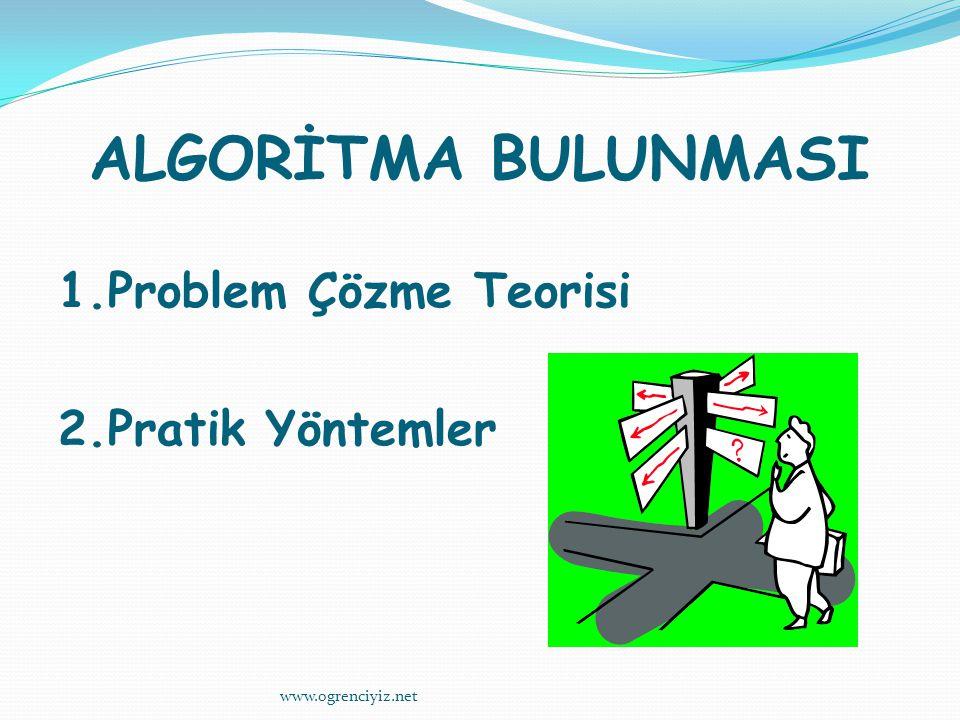 ALGORİTMA BULUNMASI 1.Problem Çözme Teorisi 2.Pratik Yöntemler