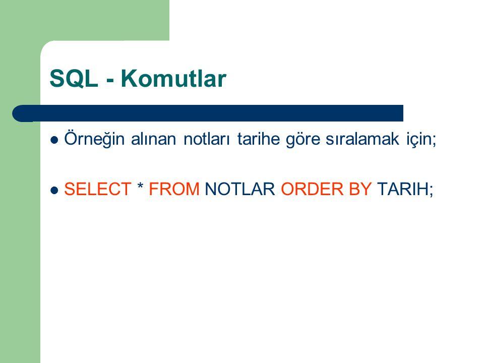 SQL - Komutlar Örneğin alınan notları tarihe göre sıralamak için;