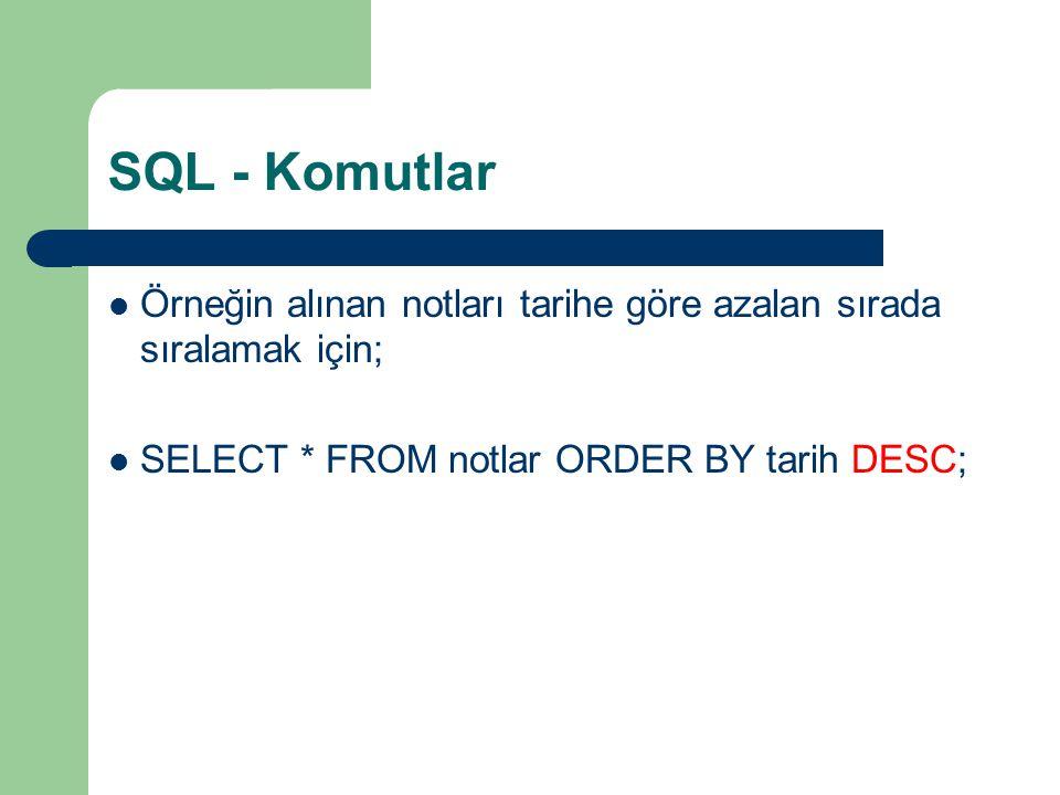 SQL - Komutlar Örneğin alınan notları tarihe göre azalan sırada sıralamak için; SELECT * FROM notlar ORDER BY tarih DESC;