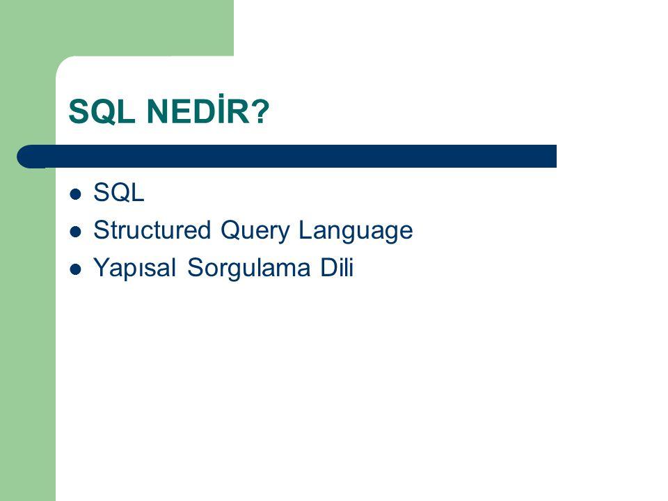 SQL NEDİR SQL Structured Query Language Yapısal Sorgulama Dili