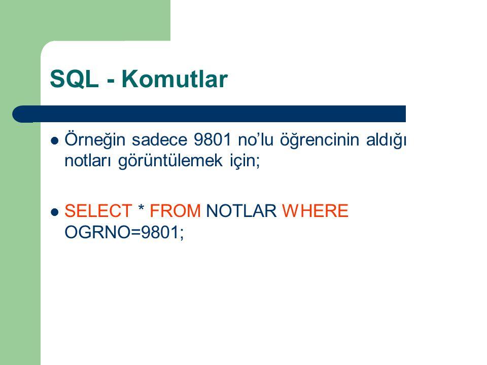 SQL - Komutlar Örneğin sadece 9801 no'lu öğrencinin aldığı notları görüntülemek için; SELECT * FROM NOTLAR WHERE OGRNO=9801;