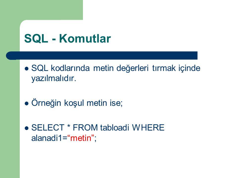 SQL - Komutlar SQL kodlarında metin değerleri tırmak içinde yazılmalıdır. Örneğin koşul metin ise;