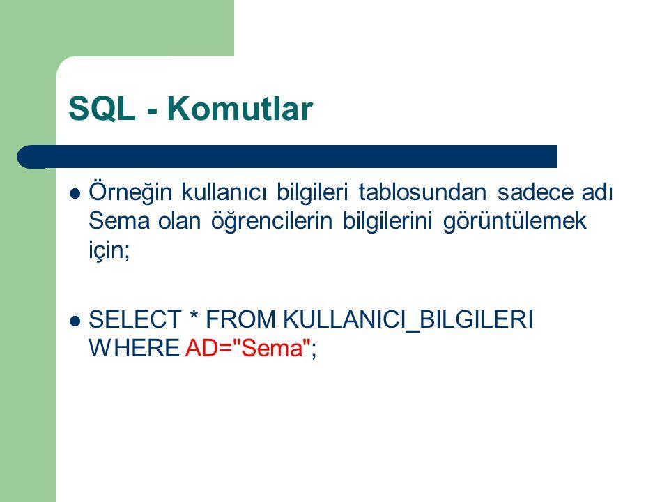 SQL - Komutlar Örneğin kullanıcı bilgileri tablosundan sadece adı Sema olan öğrencilerin bilgilerini görüntülemek için;
