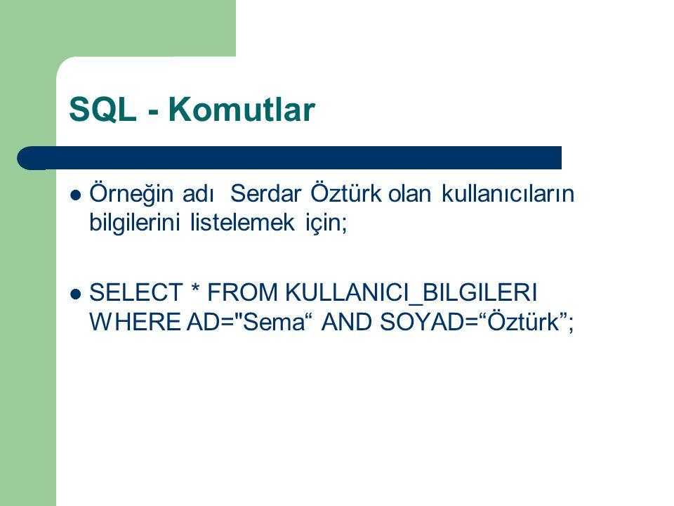 SQL - Komutlar Örneğin adı Serdar Öztürk olan kullanıcıların bilgilerini listelemek için;