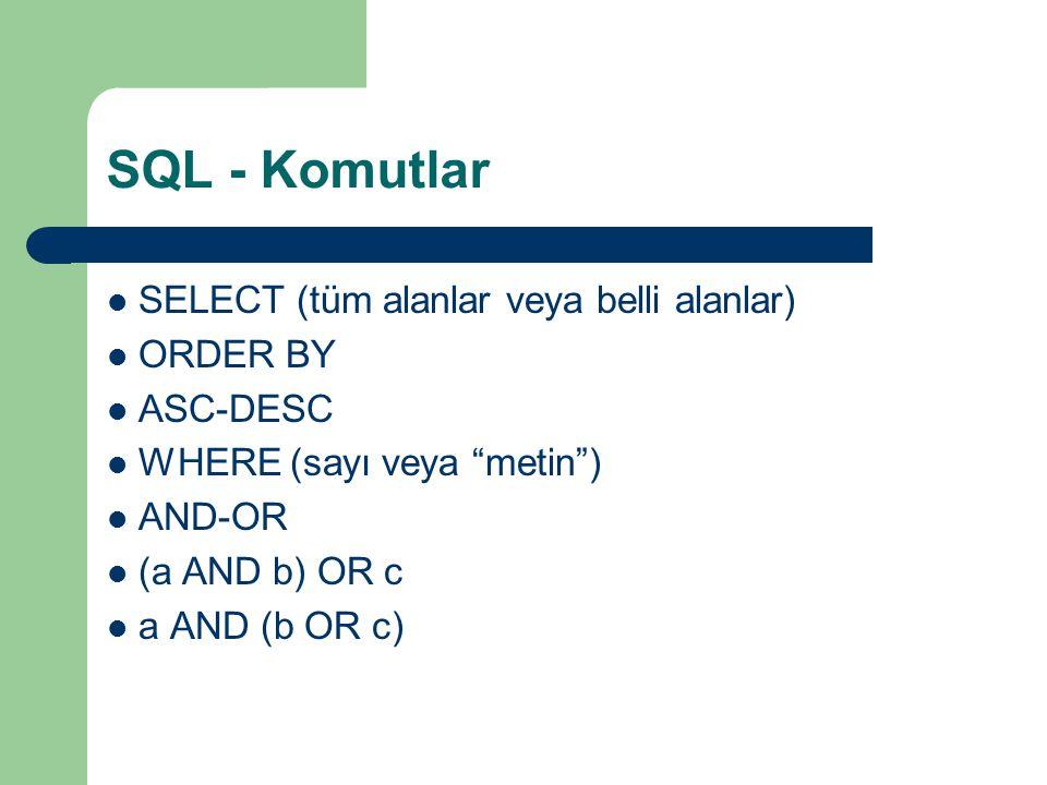 SQL - Komutlar SELECT (tüm alanlar veya belli alanlar) ORDER BY