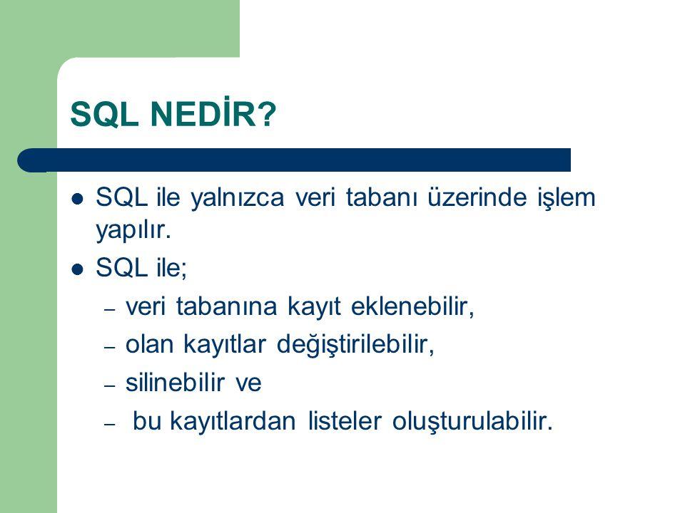 SQL NEDİR SQL ile yalnızca veri tabanı üzerinde işlem yapılır.