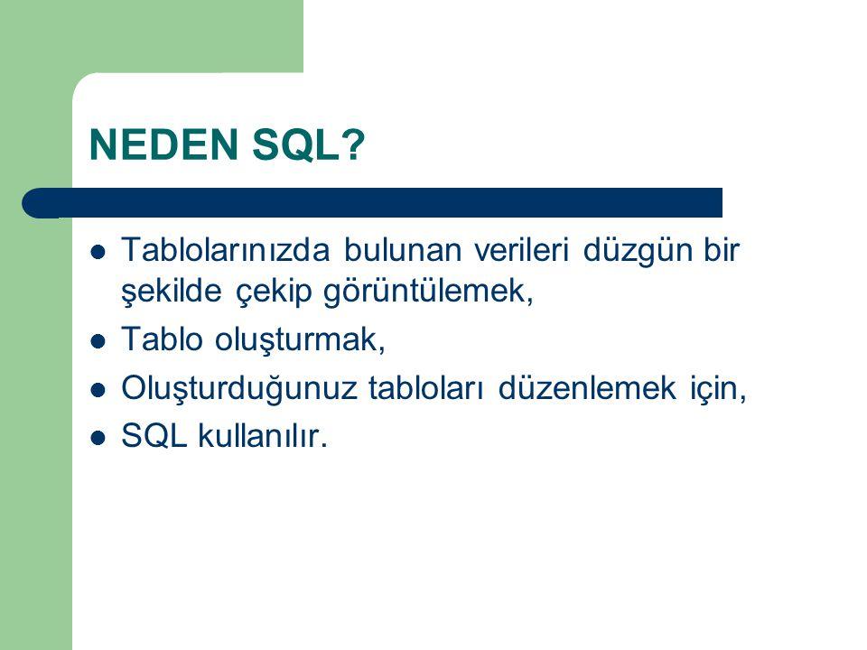 NEDEN SQL Tablolarınızda bulunan verileri düzgün bir şekilde çekip görüntülemek, Tablo oluşturmak,