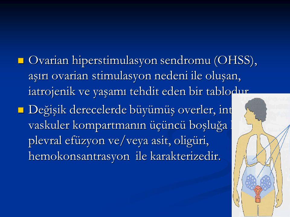 Ovarian hiperstimulasyon sendromu (OHSS), aşırı ovarian stimulasyon nedeni ile oluşan, iatrojenik ve yaşamı tehdit eden bir tablodur