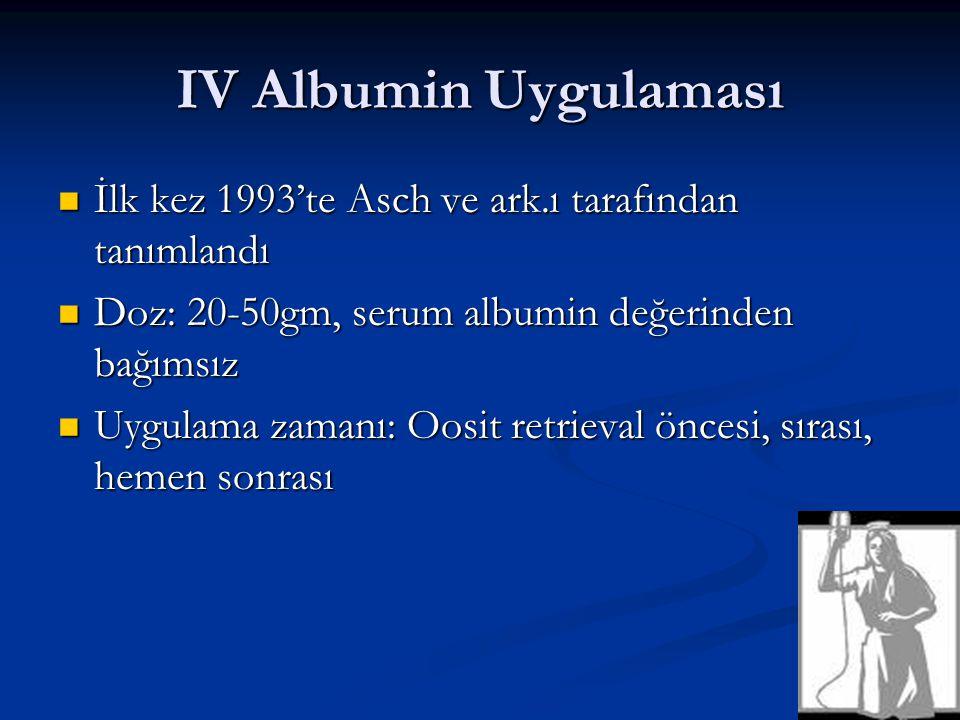 IV Albumin Uygulaması İlk kez 1993'te Asch ve ark.ı tarafından tanımlandı. Doz: 20-50gm, serum albumin değerinden bağımsız.