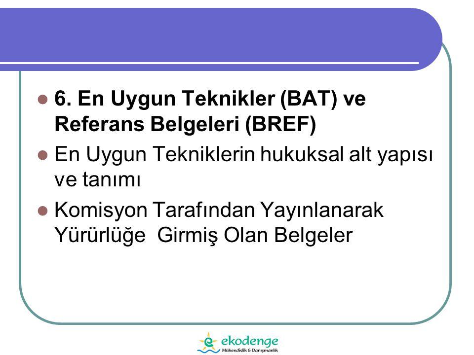 6. En Uygun Teknikler (BAT) ve Referans Belgeleri (BREF)