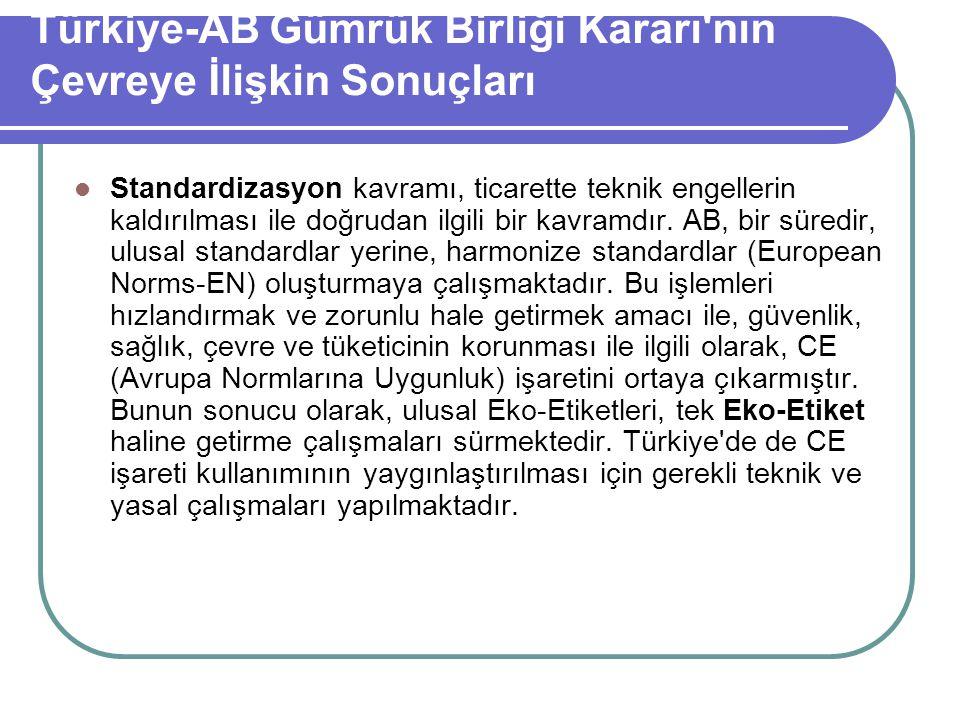 Türkiye-AB Gümrük Birliği Kararı nın Çevreye İlişkin Sonuçları
