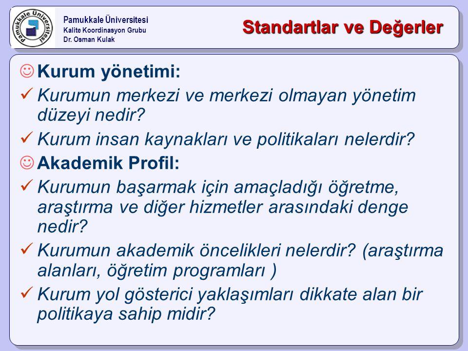 Standartlar ve Değerler