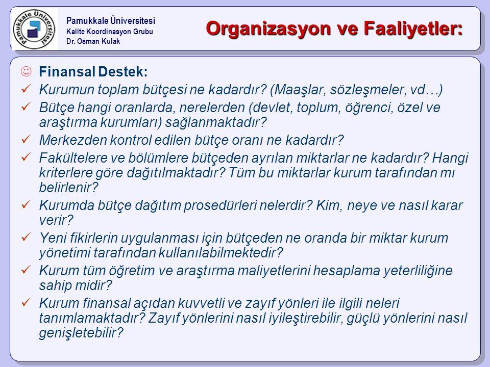 Organizasyon ve Faaliyetler: