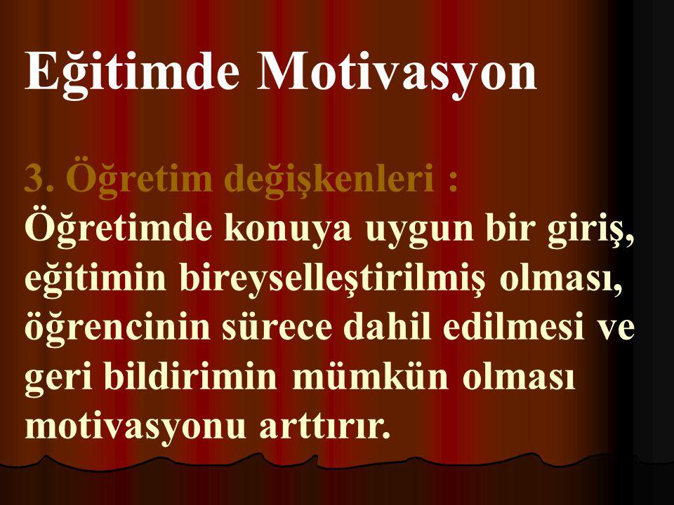 Eğitimde Motivasyon