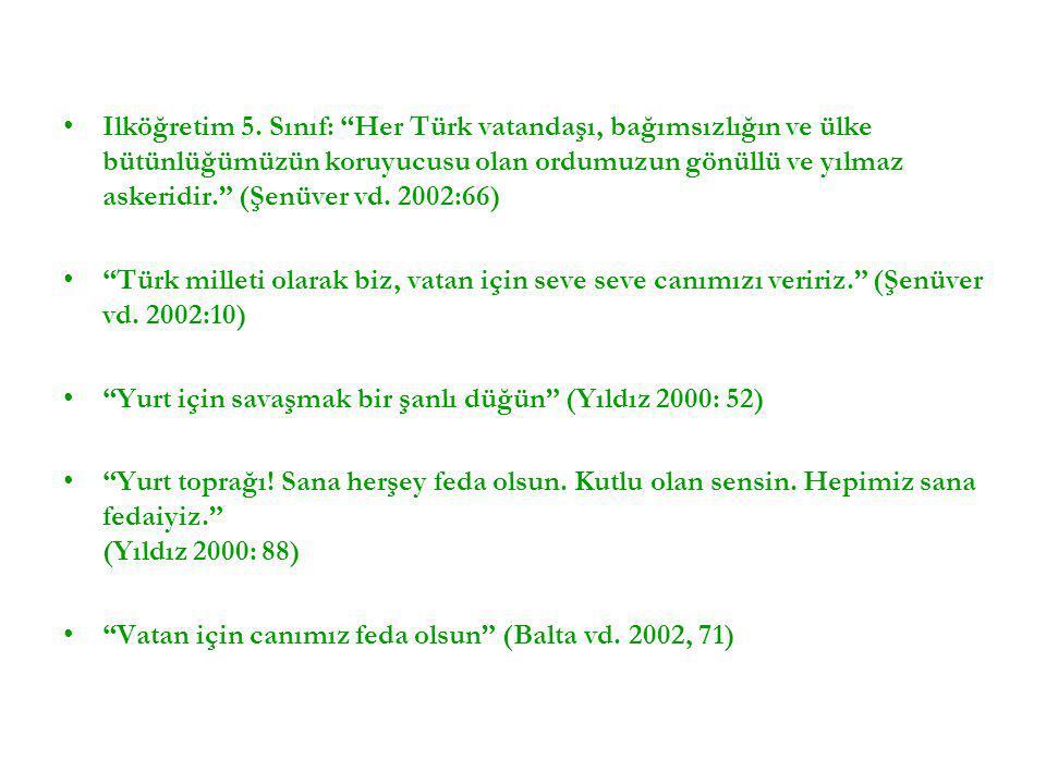Ilköğretim 5. Sınıf: Her Türk vatandaşı, bağımsızlığın ve ülke bütünlüğümüzün koruyucusu olan ordumuzun gönüllü ve yılmaz askeridir. (Şenüver vd. 2002:66)