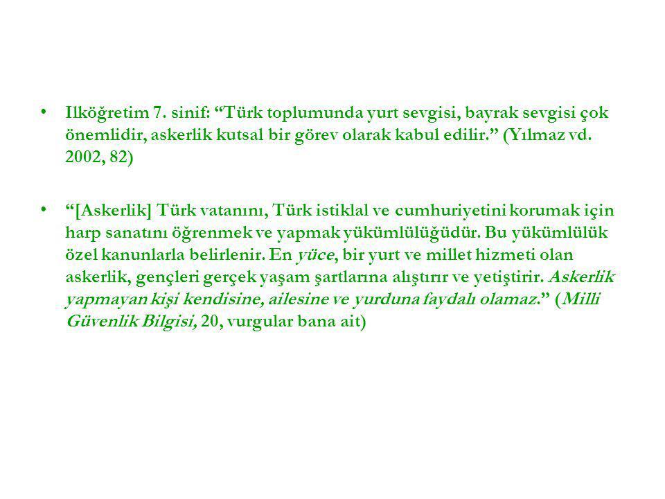 Ilköğretim 7. sinif: Türk toplumunda yurt sevgisi, bayrak sevgisi çok önemlidir, askerlik kutsal bir görev olarak kabul edilir. (Yılmaz vd. 2002, 82)