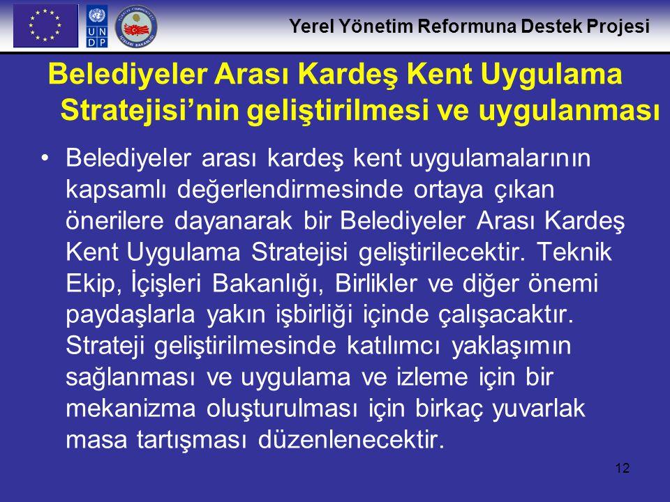 Belediyeler Arası Kardeş Kent Uygulama Stratejisi'nin geliştirilmesi ve uygulanması