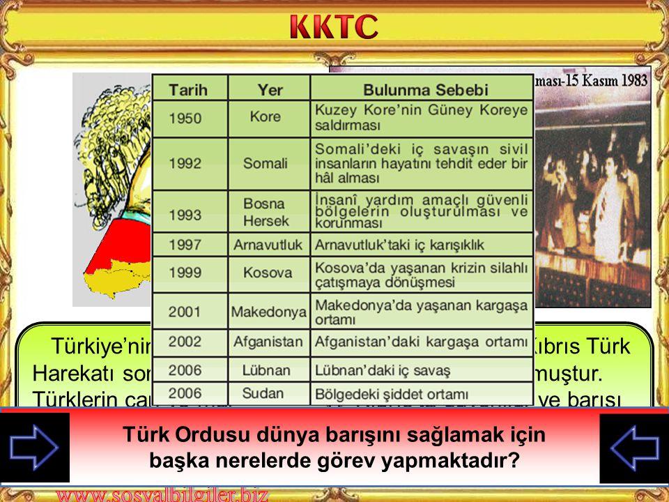Türkiye'nin Kıbrıs Barış Harekatı sonucunda Türklerin can ve mal güvenliği sağlanmış ve ada fiili olarak ikiye ayrılmıştır