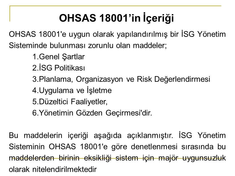 OHSAS 18001'in İçeriği OHSAS 18001 e uygun olarak yapılandırılmış bir İSG Yönetim Sisteminde bulunması zorunlu olan maddeler;
