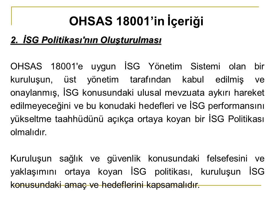 OHSAS 18001'in İçeriği 2. İSG Politikası nın Oluşturulması