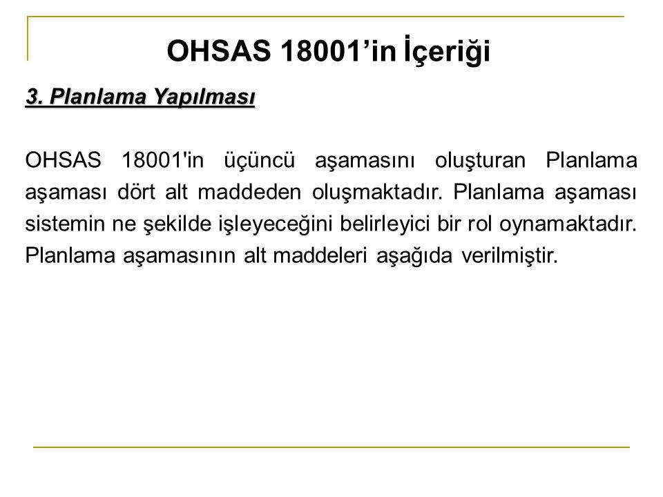 OHSAS 18001'in İçeriği 3. Planlama Yapılması