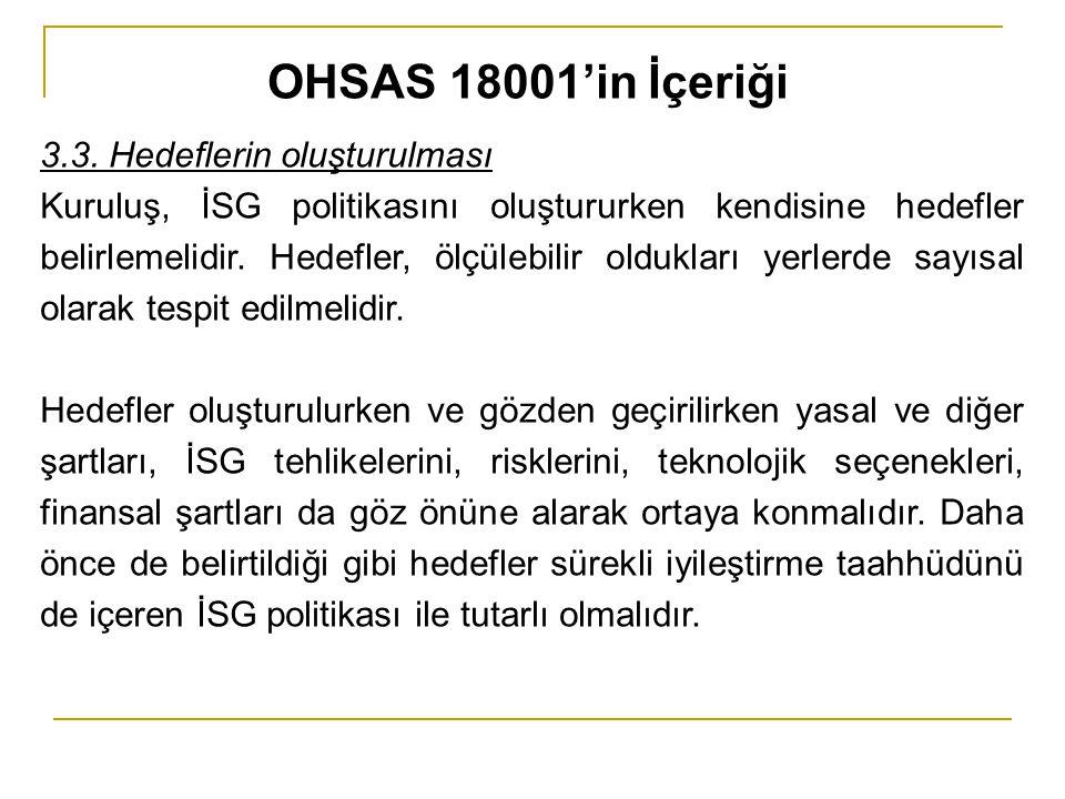 OHSAS 18001'in İçeriği 3.3. Hedeflerin oluşturulması