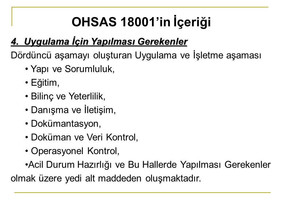 OHSAS 18001'in İçeriği 4. Uygulama İçin Yapılması Gerekenler