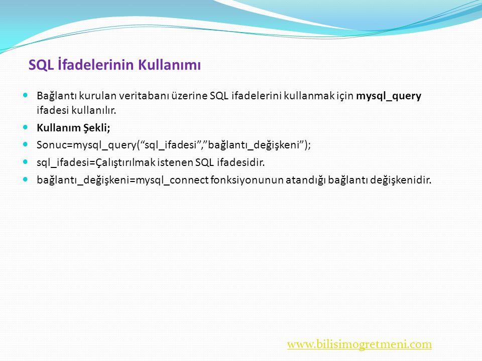 SQL İfadelerinin Kullanımı