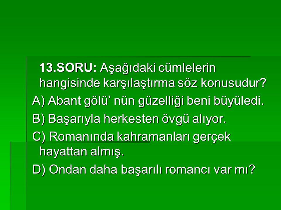 13.SORU: Aşağıdaki cümlelerin hangisinde karşılaştırma söz konusudur