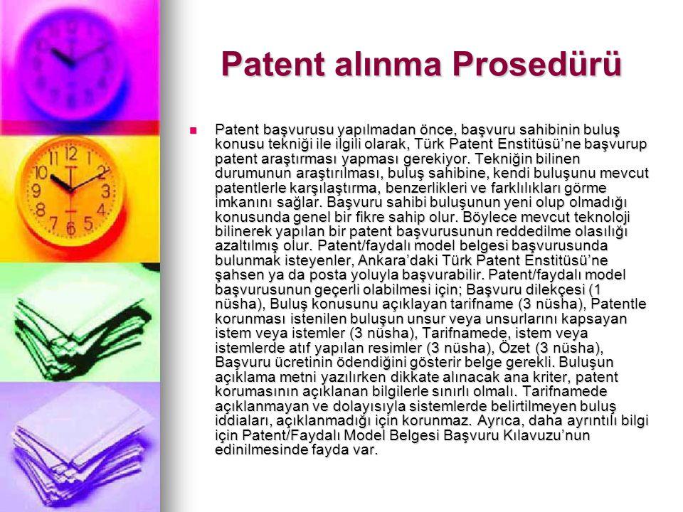 Patent alınma Prosedürü