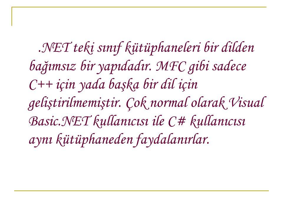 NET teki sınıf kütüphaneleri bir dilden bağımsız bir yapıdadır