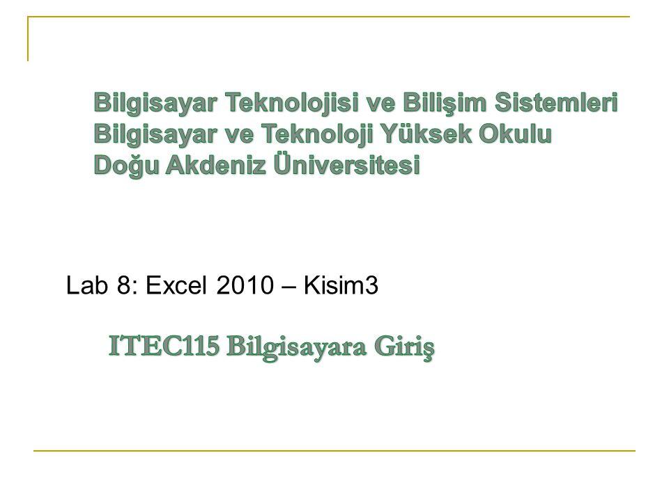 Lab 8: Excel 2010 – Kisim3 ITEC115 Bilgisayara Giriş